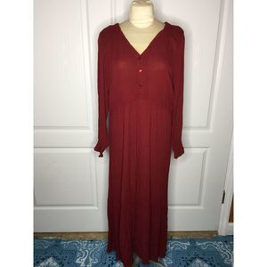 Roamans 14/16 Red Maxi Dress Button Up Casual